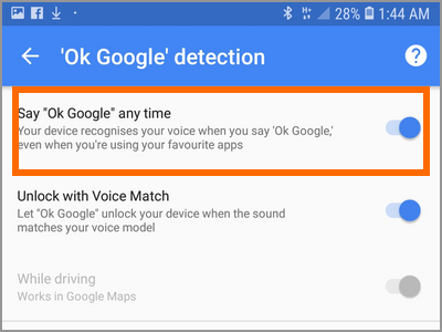 Android Settings Lock Screen And Security Smart Lock Voice Match OK Google At Any Time