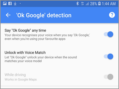 Android Settings Lock Screen And Security Smart Lock Voice Match OK Google Page
