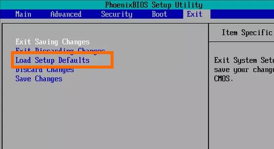Computer BIOS Settings Load Setup Defaults
