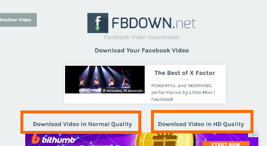 FBDown.Net Choose Video Quality