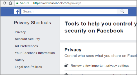 Facebook Privacy Shortcut
