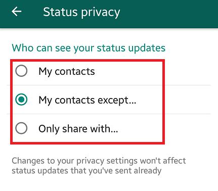 set status privacy on whatsapp