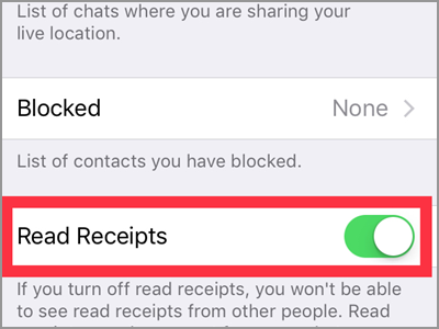 WhatsApp Settings Account Privacy Read Receipts