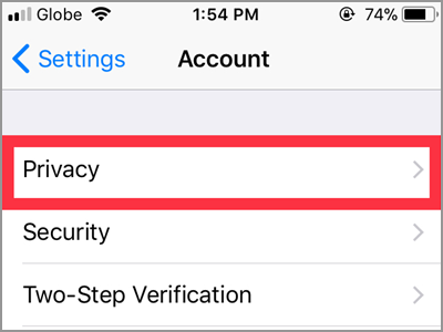 WhatsApp Settings Account Privacy