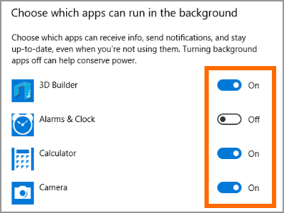Windows 10 Settings Privacy Background Apps Toggle Switches