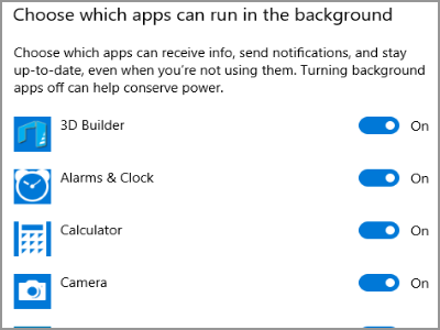 Windows 10 Settings Privacy Background Apps in Device