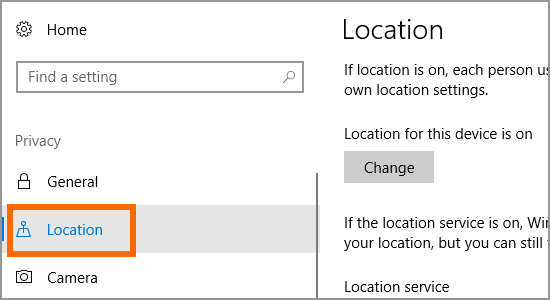 Windows 10 Start Menu Settings Location Pirvacy Location