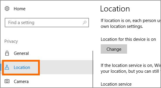 Windows 10 Start Menu Settings Location Pirvacy Location