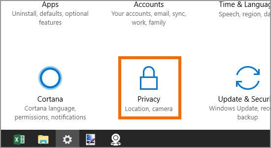 Windows 10 Start Menu Settings Location Pirvacy