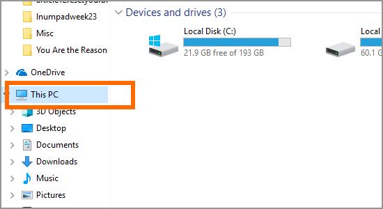 Windows file Explorer This PC