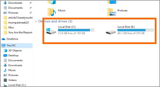 Windows file Explorer This PC Drive
