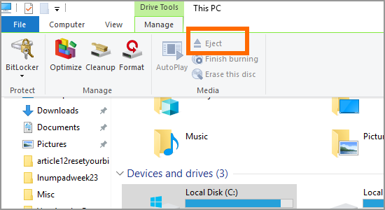 Windows file Explorer This PC Drive Manage Eject