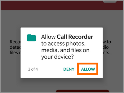 playstore auto call recorder Allow