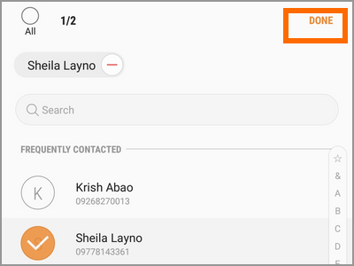 Android Settings Advanced Features Send SOS Messages To Add Select from Contacts Select Done