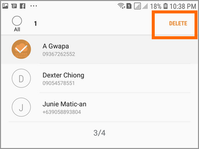 Android Settings Advanced Features Send SOS Messages To Delete Choose Contact DElete