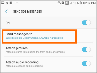 Android Settings Advanced Features Send SOS Messages To