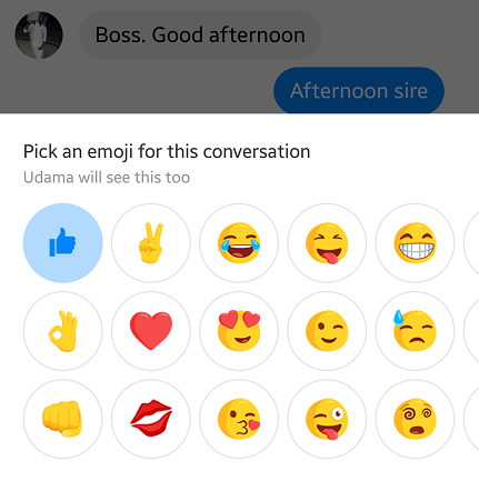 change thumbs up on Facebook messenger