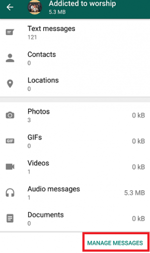 Clear Storage Usage On WhatsApp