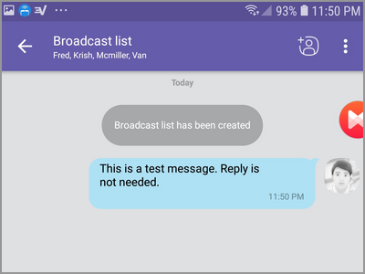 Viber Create New Broadcast List Select Contact Input Message