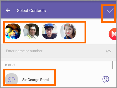 Viber Create New Broadcast List Select Contact