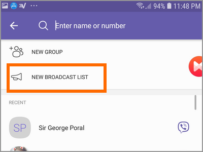 Viber Create New Broadcast List