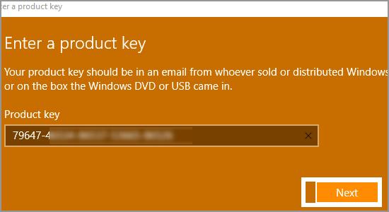 Windows Product Key Next