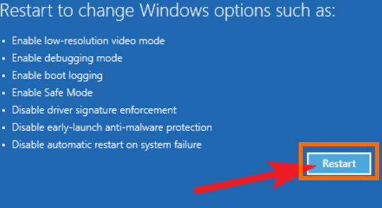 Windows Restart button Update and Security Recovery Restart PC Troubleshoot Advanced Optioin Startup Settings Restart