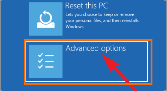 Windows Restart button Update and Security Recovery Restart PC Troubleshoot Advanced Optioin