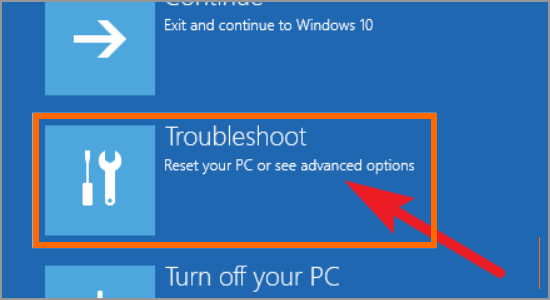 Windows Restart button Update and Security Recovery Restart PC Troubleshoot