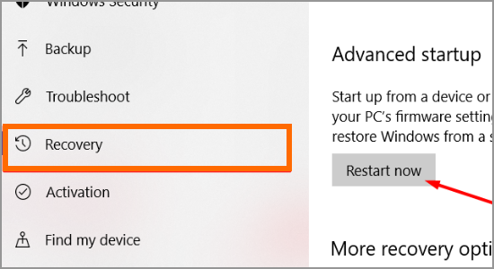 Windows Restart button Update and Security Recovery