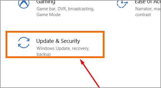 Windows Restart button Update and Security