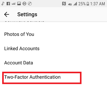 Enable two-factor authentication on Instagram