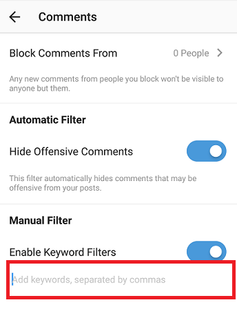 How To Use Manual Keyword Filter On Instagram