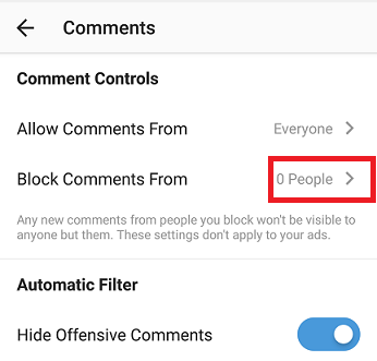 Block Someone From Commenting On Instagram