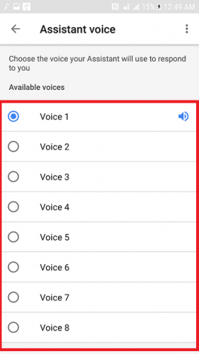 Change Google assistant voice