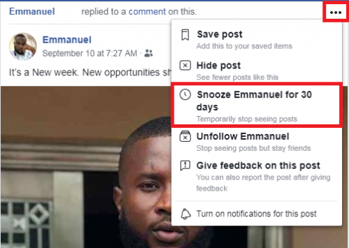 snooze someone on facebook