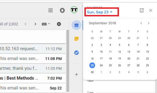 View calendar on Gmail