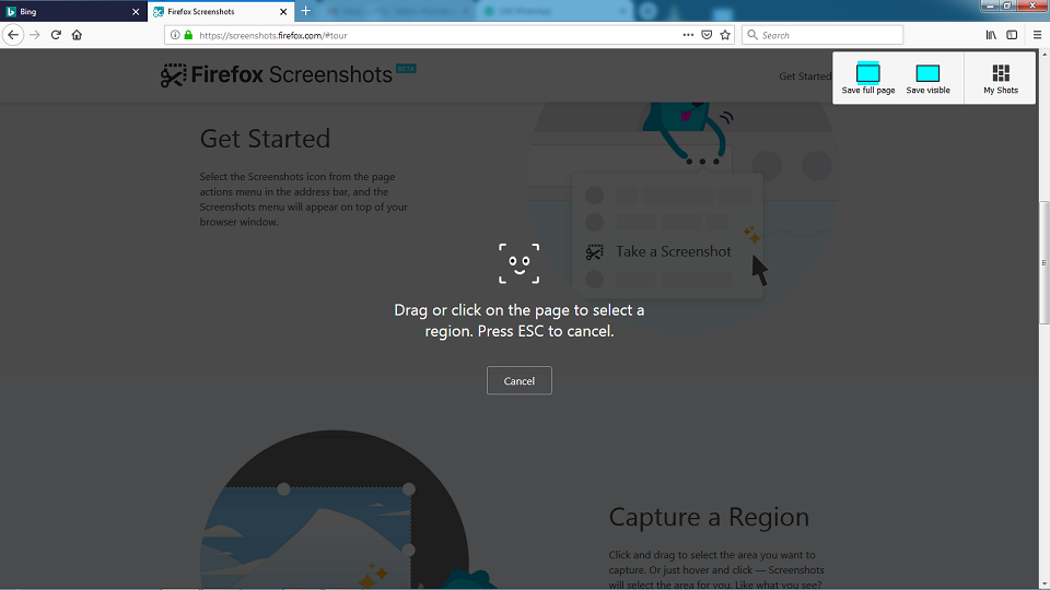 Take Screenshot On Mozilla Firefox