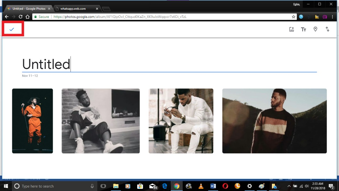 create an album on Google photos