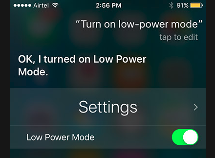 Enable Low Power Mode in iPhone