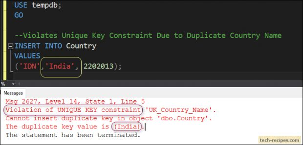 How To Use Unique Constraint In SQL Server