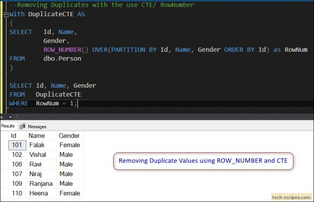 ROW_NUMBER - Removing Duplicates with ROW_NUMBER and CTE in SQL Server