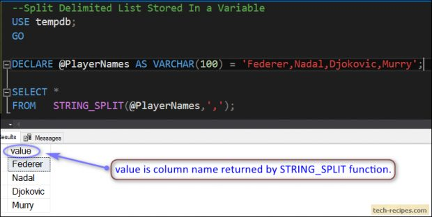 STRING_SPLIT - Split Delimited String In SQL Server
