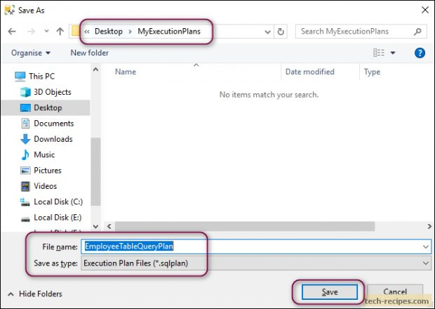 Save Query Execution Plan In SQL Server