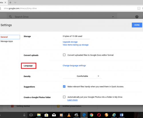 Change The Default Language On Google Drive