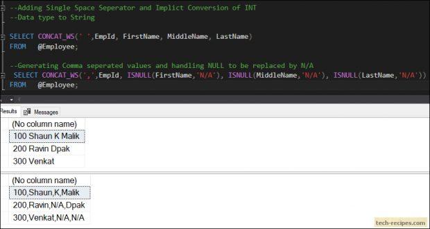 CONCAT_WS SQL Server