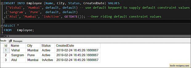 Default Constraint SQL Server