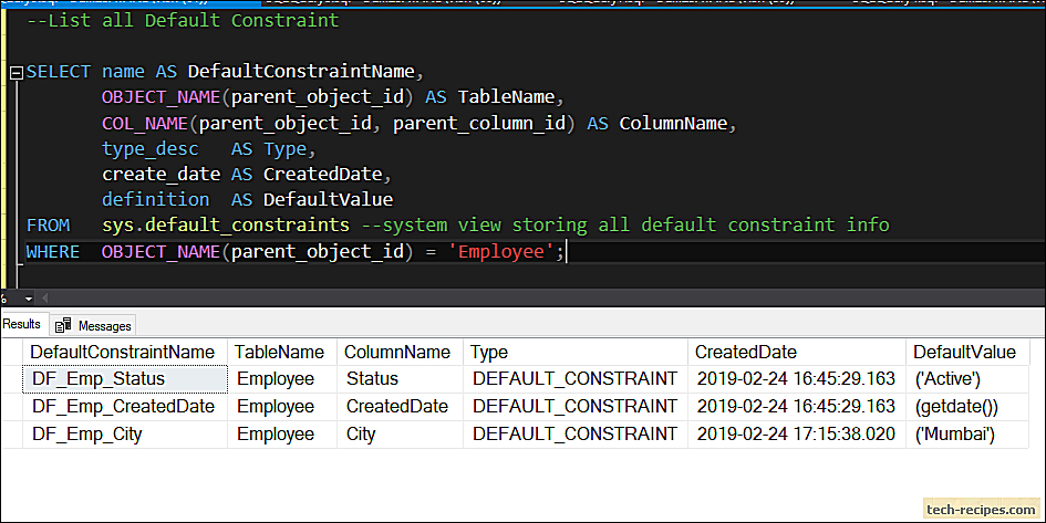 How To Use Default Constraint In SQL Server