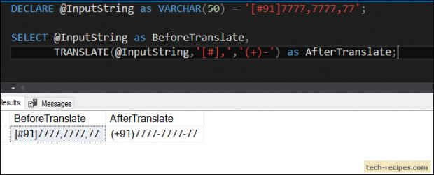TRANSLATE Function In SQL Server_Example_2