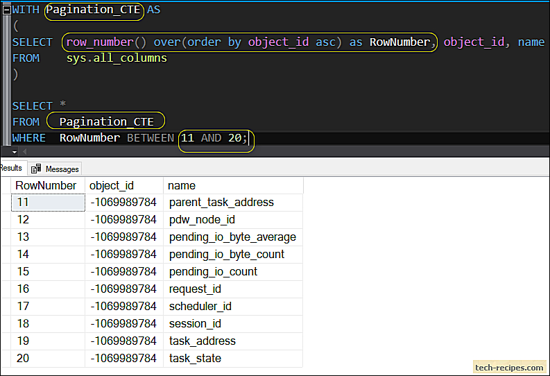 Pagination using ROW_NUMBER with a CTE In SQL Server